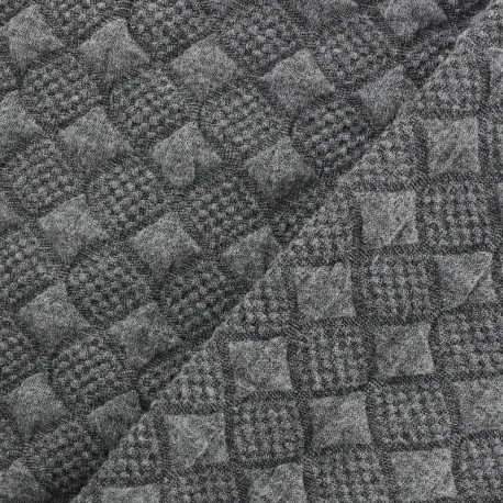 Jersey jacquard fabric diamond - grey x 10cm
