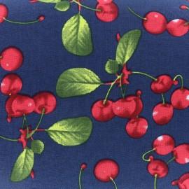 Tissu coton Lovely Cherry Fruit - bleu nuit x 10cm