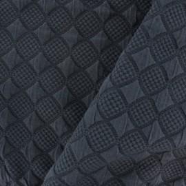 Tissu jersey jacquard damassé losanges - bleu marine x 10cm
