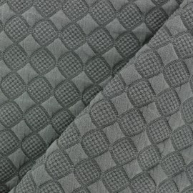 Tissu jersey jacquard damassé losanges - kaki x 10cm