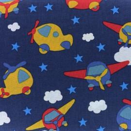 Tissu coton Petit Avion - bleu nuit x 10cm