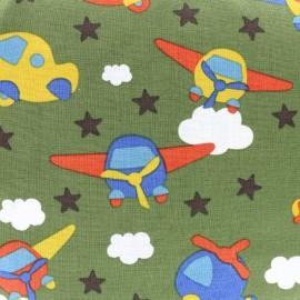 Tissu coton Petit Avion - vert x 10cm