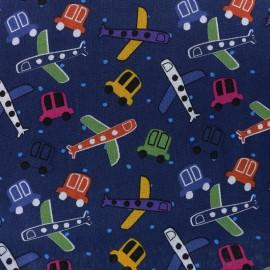 Tissu coton Cars and Planes - bleu nuit x 10cm
