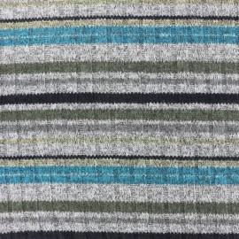 Tissu jersey maille marcel Rayures colorées - bleu/gris/vert x 10cm