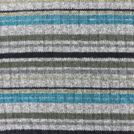 Colorful stripes stitched marcel jersey fabric - blue/grey/green x 10cm