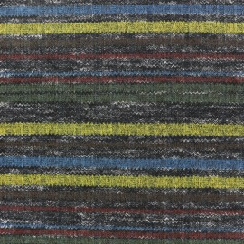 Colorful stripes stitched marcel jersey fabric - blue/brown/green x 10cm
