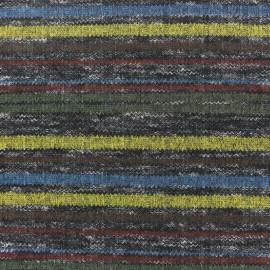Tissu jersey maille marcel Rayures colorées - bleu/marron/vert x 10cm