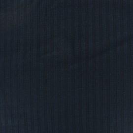 Tissu jersey maille Rayures uni  - bleu marine x 10cm