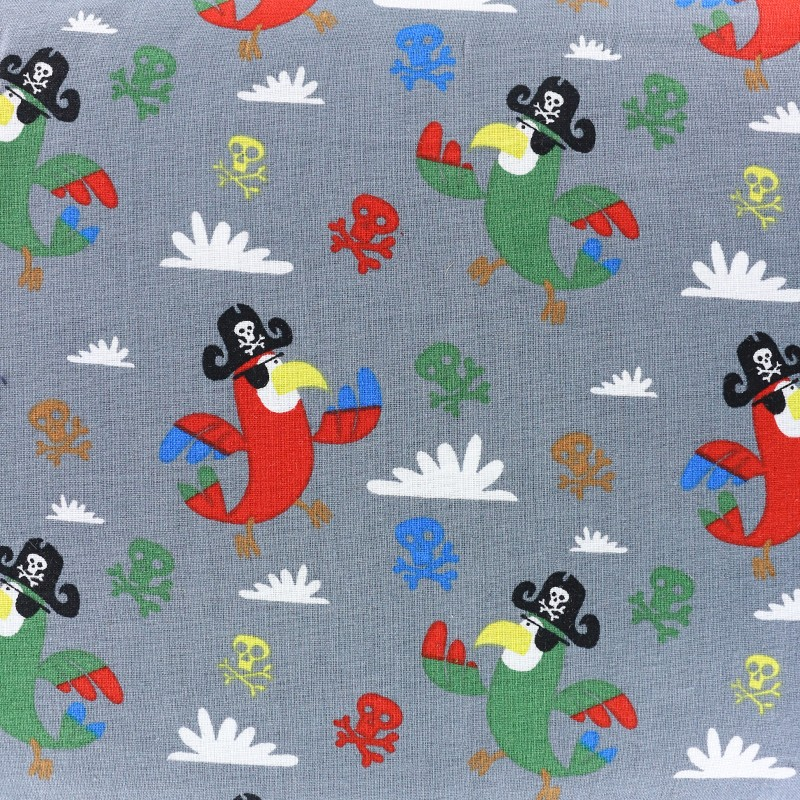 Pirate parrot cotton fabric grey x 10cm for Kids pirate fabric