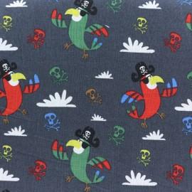 Tissu coton Pirate Parrot - gris anthracite x 10cm