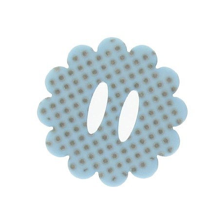 Flower button with polka dots - sky blue
