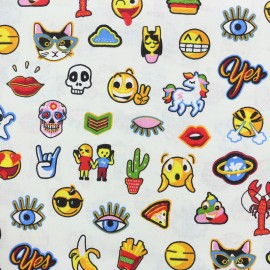 Cretonne cotton Fabric Crazy chat - white x 10 cm