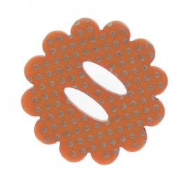Flower button with polka dots - orange
