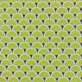 Cretonne cotton Fabric Eventails dorés - lime x 10cm