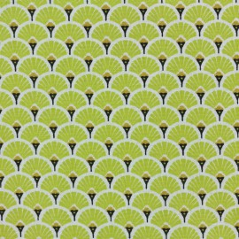 Tissu coton cretonne Eventails dorés - citronnelle x 10cm