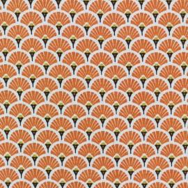 Cretonne cotton Fabric Eventails dorés - orange x 10cm