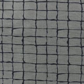 Tissu Gabardine Lycra jeans Carrés - kaki  x 10cm