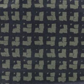 Tissu Gabardine Lycra jeans Squares - noir/kaki  x 10cm