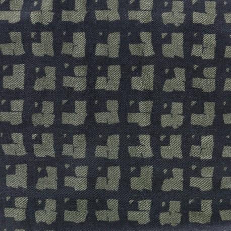 Light Lycra Gabardine Jeans Squares Fabric - black/green x 10cm