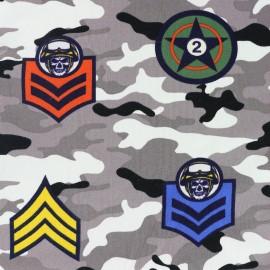 Tissu sweat léger Militaire - gris x 38cm