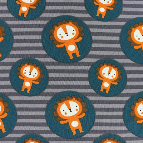 Tissu jersey Lion in a circle - gris x 10cm