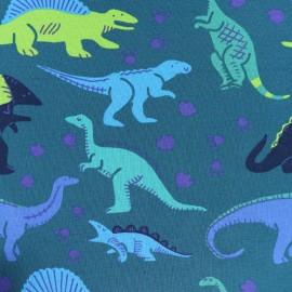 Tissu Jersey Dino - vert x 10cm