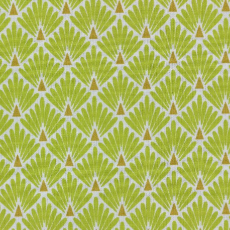 Cretonne cotton Fabric Ecailles dorées - lime x 10cm