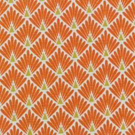 Tissu coton cretonne Ecailles dorées - orange x 10cm