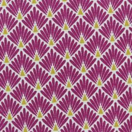 Tissu coton cretonne Ecailles dorées - violet x 10cm