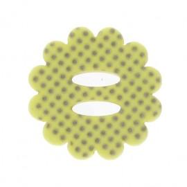 Bouton fleur à pois jaune