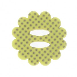 Flower button with polka dots - yellow