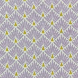 Tissu coton cretonne Ecailles dorées - lavande x 10cm
