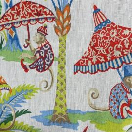 Tissu toile lin Exotic Monkey - beige x 42cm