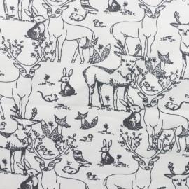 Oeko-Tex  Organic Jersey fabric Mountain Friend - white x 10cm