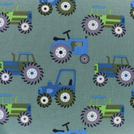 Tissu jersey Tracteurs -  vert x 10cm