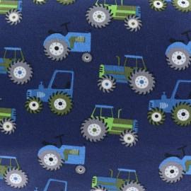 Tissu jersey Tracteurs - bleu x 10cm