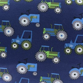 Tractors Jersey fabric - blue x 10cm