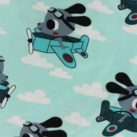 Tissu jersey In the air - bleu ciel x 20cm