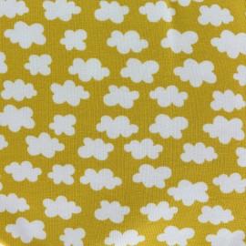 Tissu jersey Clouds above us - jaune moutarde x 10cm
