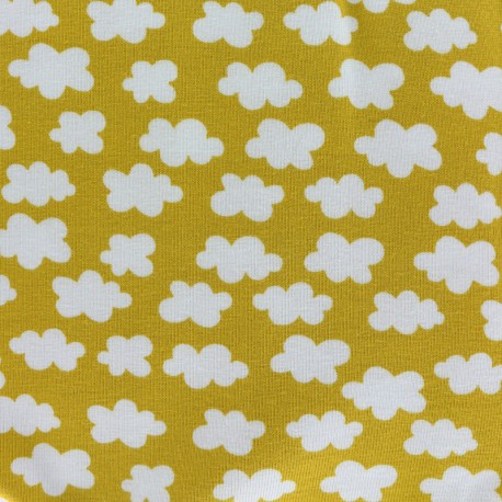 Clouds above us Jersey fabric - mustard yellow x 10cm