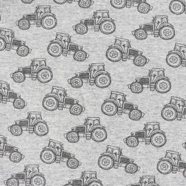 Tissu sweat léger Petits motifs - tracteur x 10cm