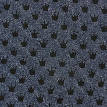 Tissu sweat léger Petits motifs - couronne B x 10cm