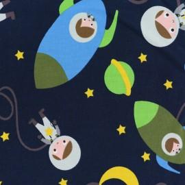 Tissu jersey The cuties in space - bleu marine x 20cm