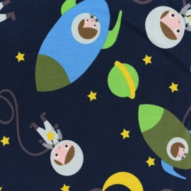 The cuties in space Jersey fabric - blue x 20cm