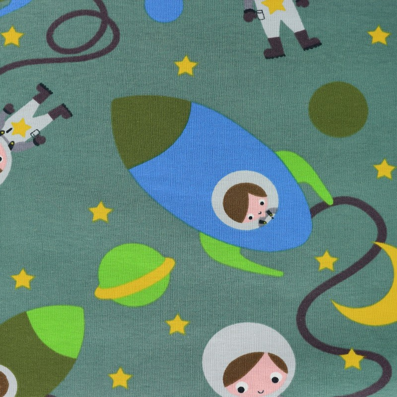 Clothing fabrics the cuties in space jersey fabric green for Space pants fabric