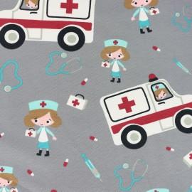 Tissu jersey Call an ambulance - gris x 20cm
