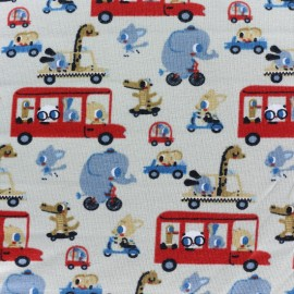 Rolling with animals  Jersey fabric - grey x 10cm