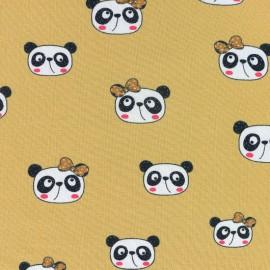 Tissu jersey Panda heads - jaune moutarde x 10cm