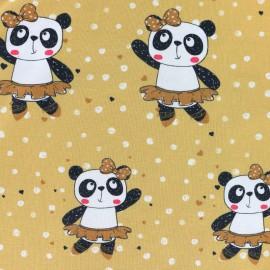 Tissu jersey Panda dance - jaune moutarde x 21cm
