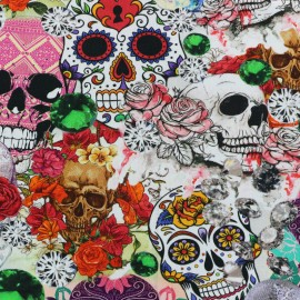 Death in roses Jersey fabric - multicolor x 37cm